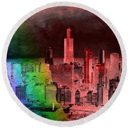 Rainbow On Chicago Mixed Media Textured Round Beach Towel