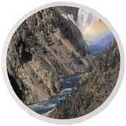 Rainbow On The Lower Falls Round Beach Towel