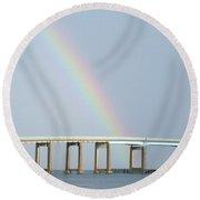 Rainbow On Top Of The Bridge Round Beach Towel