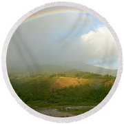 Rainbow Over Boquete Round Beach Towel