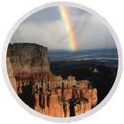 Rainbow Over  Bryce Canyon Round Beach Towel