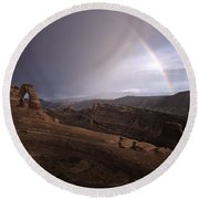 Rainbow Over Delicate Arch Round Beach Towel