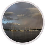 Rainbow Over Essex Round Beach Towel
