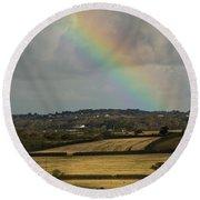 Rainbow Over Fields Round Beach Towel