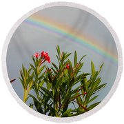 Rainbow Over Flower Round Beach Towel