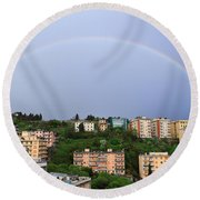 rainbow over Genova Round Beach Towel
