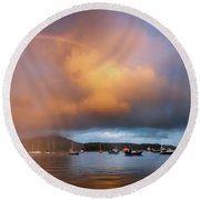 Rainbow Over Harbor At Sunset, Portree Round Beach Towel