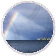 Rainbow Over Lake Todos Santos Chile Round Beach Towel