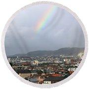 Rainbow Over Oslo Round Beach Towel