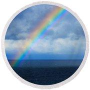 Rainbow Over The Atlantic Ocean Round Beach Towel