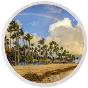 Rainbow Over The Beach Round Beach Towel