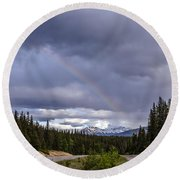 Rainbow Over The Mountains Round Beach Towel