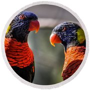 Rainbow Parrot Round Beach Towel