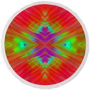 Rainbow Passion Abstract 1 Round Beach Towel