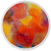 Rainbow Passion - Abstract - Digital Painting Round Beach Towel