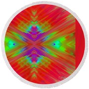 Rainbow Passion Abstract 2 Round Beach Towel