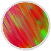 Rainbow Passion Abstract Upper Left Round Beach Towel