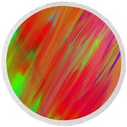 Rainbow Passion Abstract Upper Right Round Beach Towel