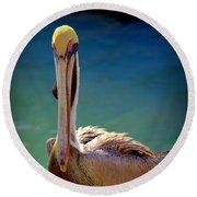 Rainbow Pelican Round Beach Towel