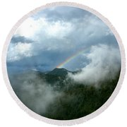 Rainbow Shrouded In Mist Round Beach Towel