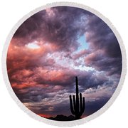 Rainbow Skies At Sunset  Round Beach Towel
