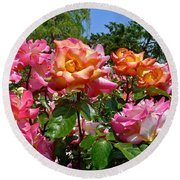 Rainbow Sorbet Roses Round Beach Towel by Denise Mazzocco