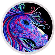 Rainbow Spotted Horse2 Round Beach Towel