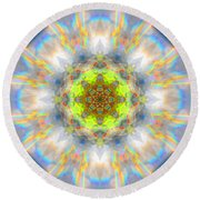 Rainbow Starburst Mandala Round Beach Towel