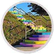 Rainbow Steps Round Beach Towel