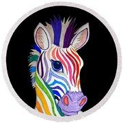 Rainbow Striped Zebra 2 Round Beach Towel