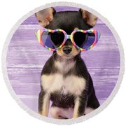 Rainbow Sunglasses Round Beach Towel by Greg Cuddiford