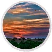 Rainbow Sunset Round Beach Towel