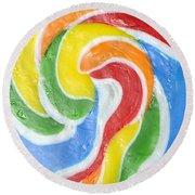 Rainbow Swirl Round Beach Towel by Luke Moore