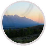 Rainbow Tetons Round Beach Towel