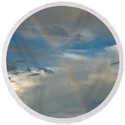 Rainbow Through The Clouds Round Beach Towel
