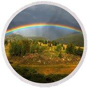 Rainbow Through The Forest Round Beach Towel