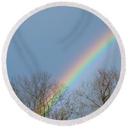 Rainbow Through The Tree Tops Round Beach Towel
