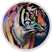 Rainbow Tiger Round Beach Towel