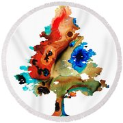 Rainbow Tree 2 - Colorful Abstract Tree Landscape Art Round Beach Towel by Sharon Cummings
