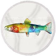 Rainbow Trout Art By Sharon Cummings Round Beach Towel