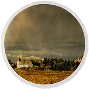 Rainbow Over The Tower Round Beach Towel
