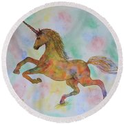 Rainbow Unicorn In My Garden Original Watercolor Painting Round Beach Towel