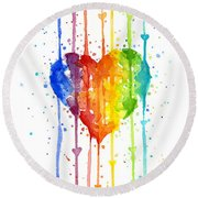 Rainbow Watercolor Heart Round Beach Towel