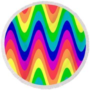 Rainbow Waves Round Beach Towel