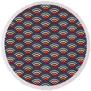 Rainbowaves Pattern Dark Round Beach Towel