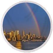 Rainbows Over The New York City Skyline Round Beach Towel