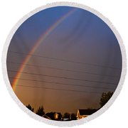 Rainbows Welcome Here Round Beach Towel