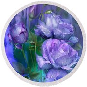 Raindrops On Lavender Roses Round Beach Towel