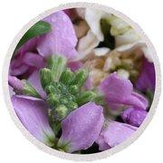Raindrops On Purple And White Flowers Round Beach Towel