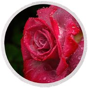 Raindrops On Roses Round Beach Towel by Peggy Hughes